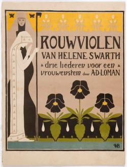 Muziekblad - Rouwviolen, omslagontwerp Hendrik Petrus Berlage (1895)