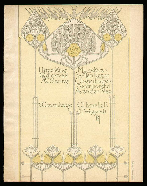 Muziekblad - Herdenking - Gedicht van A.C. Staring (ca. 1905), ontwerp: VB (?)