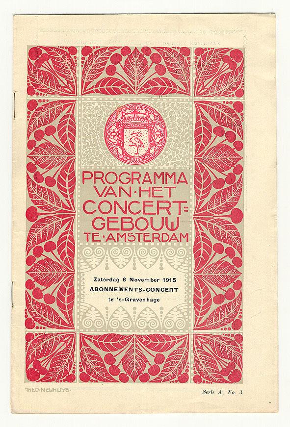 Programma van het Concertgebouw te Amsterdam, omslagontwerp: Theo Neuhuys (1915)