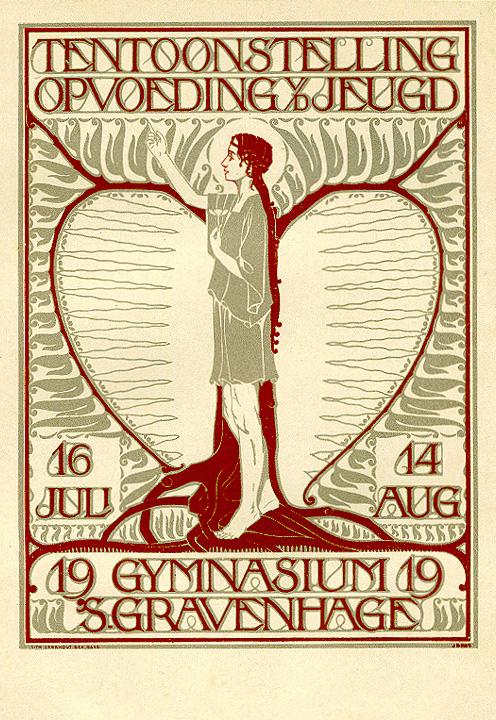 Briefkaart - Tentoonstelling Opvoeding van de jeugd, ontwerp: Johannes D. Ros (1919)