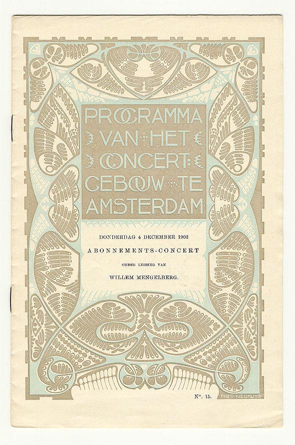 Programma van het Concertgebouw te Amsterdam, omslagontwerp: Theo Neuhuys (1902)