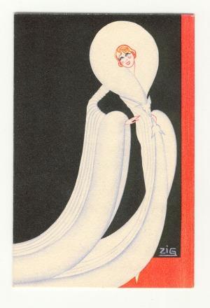 Reclamekaart - Fourrures André Brunswick Paris, omslagontwerp: Louis Gaudin (ca. 1930)
