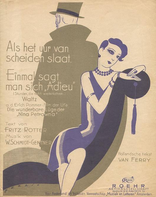 Muziekblad - Als het uur van scheiden slaat, omslagontwerp: Willy Herzig (ca. 1925)