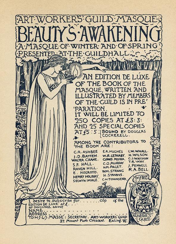 Inschijfformulier - The Art Workers Guilde Masque - Beauty's awakening (edition de luxe), ontwerp: Walter Crane (1899)