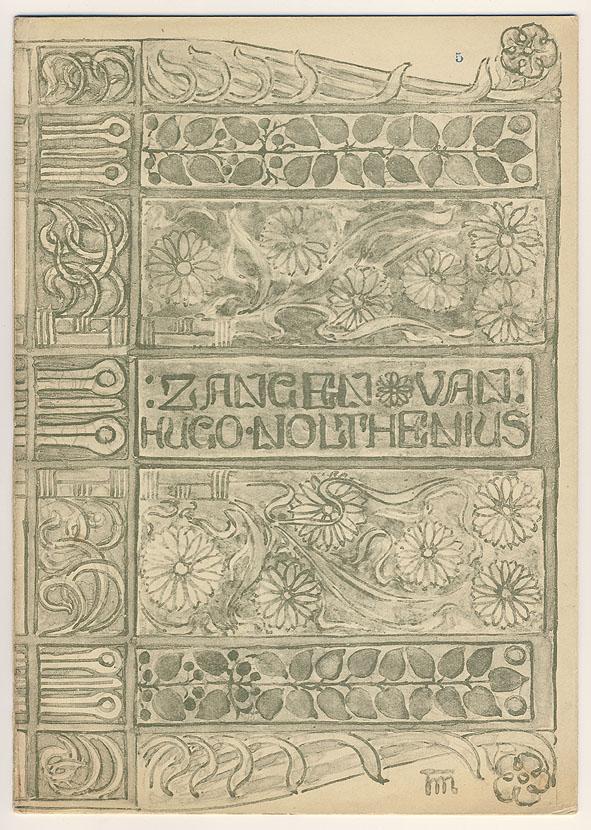 Muziekblad - Zangen van Hugo Nolthenius, omslagontwerp: Theo Molkenboer (1890)