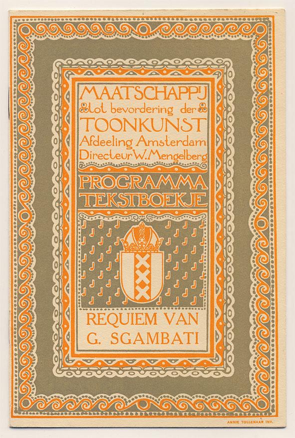 Programma tekstboekje - Maatschappij tot bevordering der Toonkunst, omslagontwerp: Annie Tollenaar (1913)