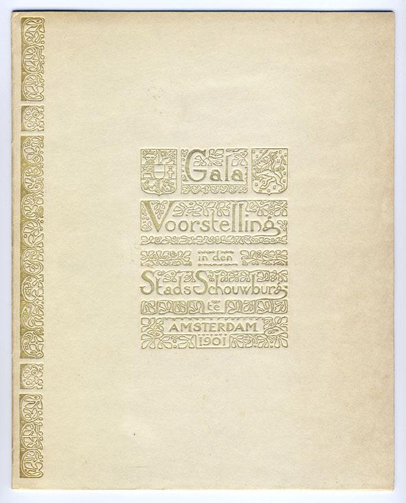 Galavoorstelling in den Stadsschouwburg (omslag programma), ontwerp: Theo Nieuwenhuis (1901)