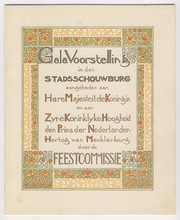Galavoorstelling in den Stadsschouwburg (titelblad programma), ontwerp: Theo Nieuwenhuis (1901)