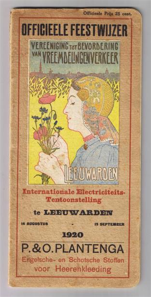 'Officieele feestwijzer Internationale Electriciteits-tentoonstelling te Leeuwarden 1920', ontwerp afbeelding: Co Breman