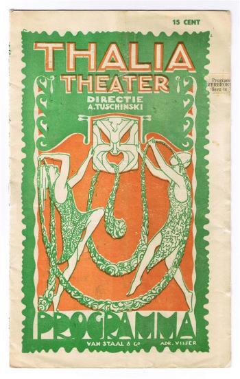 Programma Thalia Theater (ca. 1925), omslagontwerp: Adr. Visser