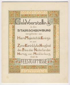 Titelblad Galavoorstelling Stadsschouwburg, Theo Nieuwenhuis (1901)