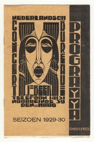 Programma Nederlandsch Concertbureau J. Beek, ontwerp: Chris Lebeau (1928)