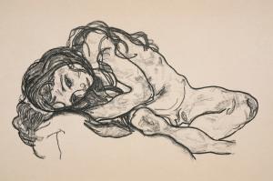 Egon_Schiele_Liggend meisje_1918_tentoonstelling_drents_museum
