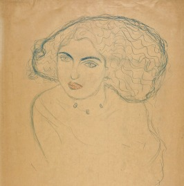 Gustav Klimt, Frauenkopf en face, tentoonstelling Drents Museum