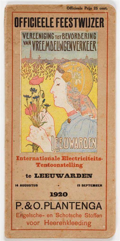 'Officieele feestwijzer Internationale Electriciteits-tentoonstelling te Leeuwarden' (1920), ontwerp afbeelding: Co Breman