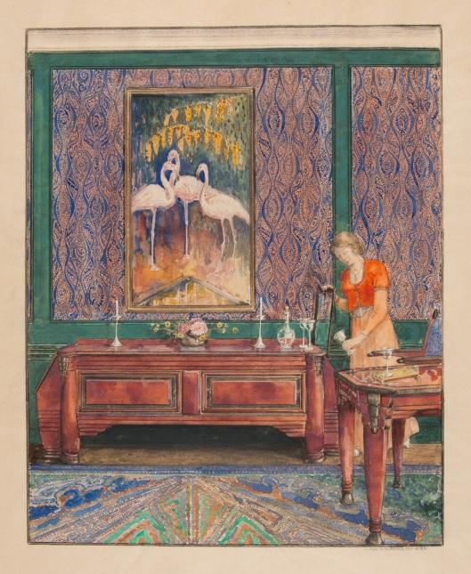 Jac. van den Bosch, ontwerptekening voor interieur met buffet en schilderij met flamingo's, 1888 (Collectie SSK)