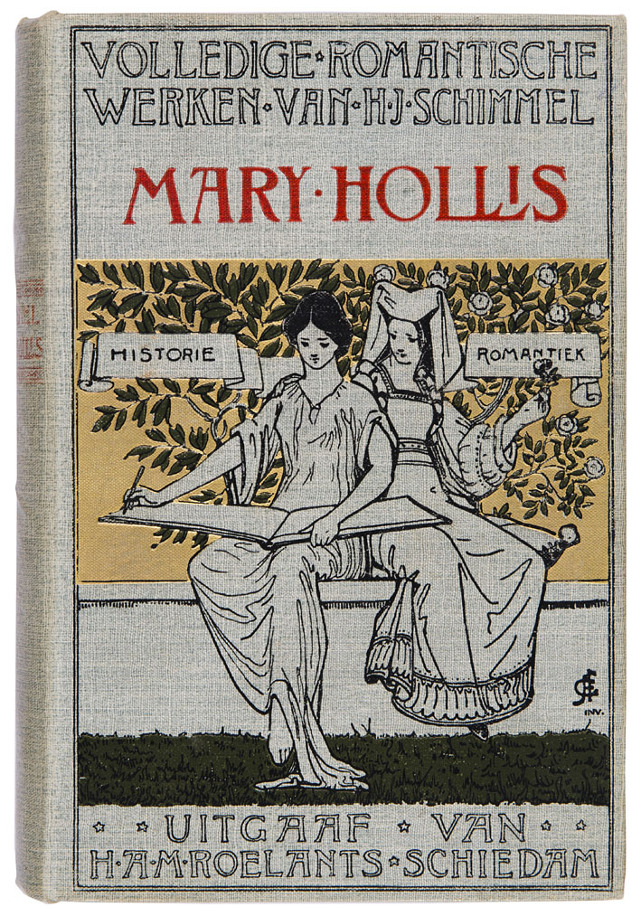 Mary Hollis - Volledige romantische werken van H.J. Schimmel, bandontwerp: Abraham Frans Gips (ca. 1900)