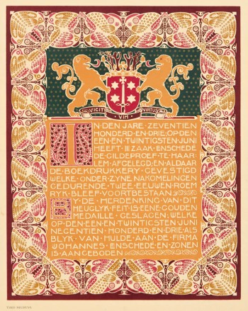 Opdrachtblad Album Joh. Enschedé en Zonen ontwerp Theo Neuhuys 1903