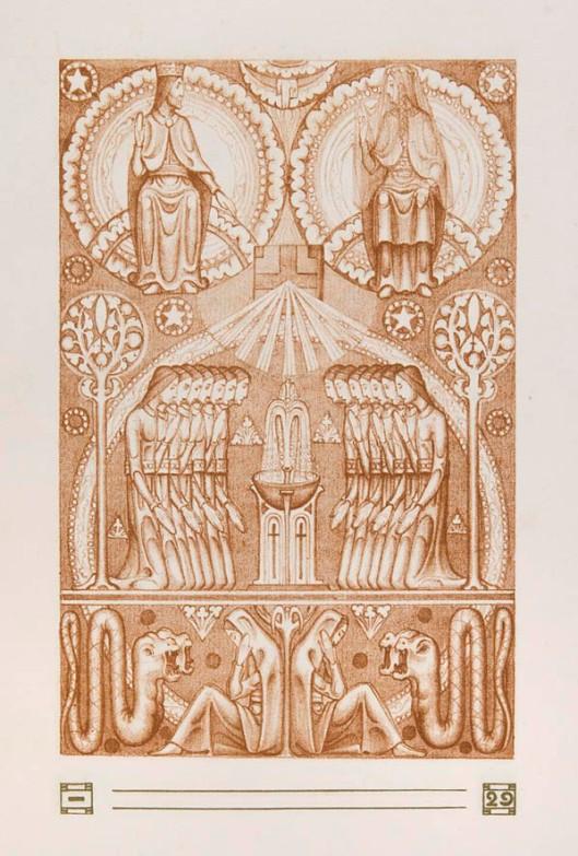 Illustratie voor het Hooglied van Salomo (pag. 29) door Bart van der Leck (1905)