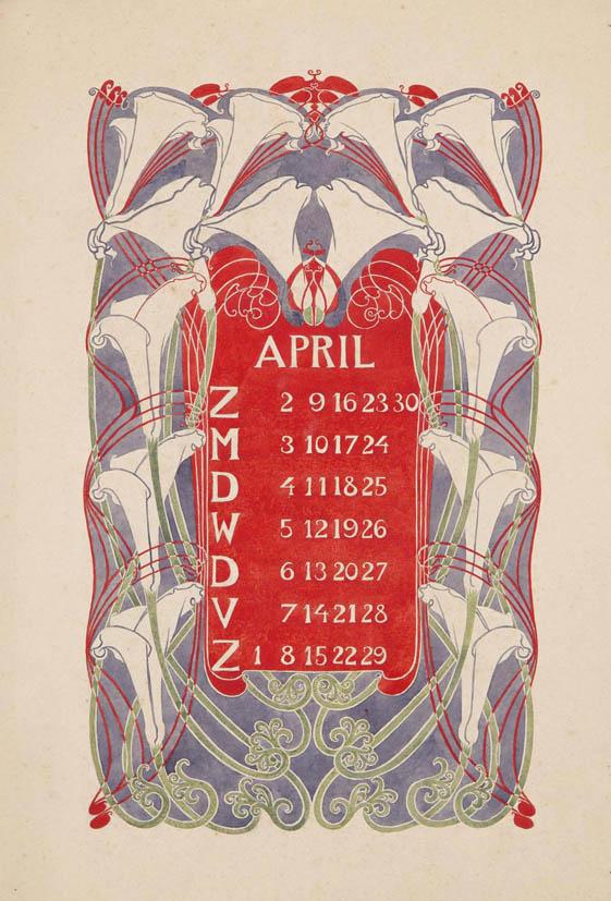jugendstil aquarel-ontwerptekening omslagkalender Bloem en Blad april 1905 Anna Sipkema