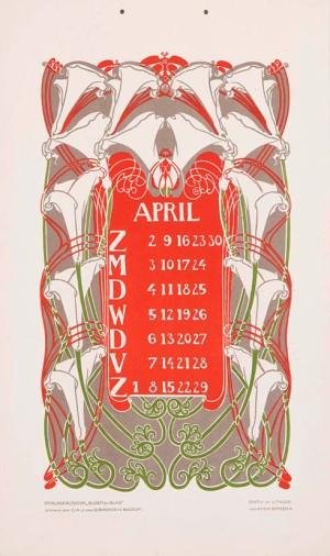 jugendstil kalenderblad omslagkalender Bloem en Blad april 1905 Anna Sipkema