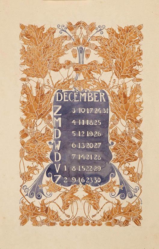 Aquarel-ontwerptekening omslagkalender Bloem en Blad juli 1905 Anna Sipkema