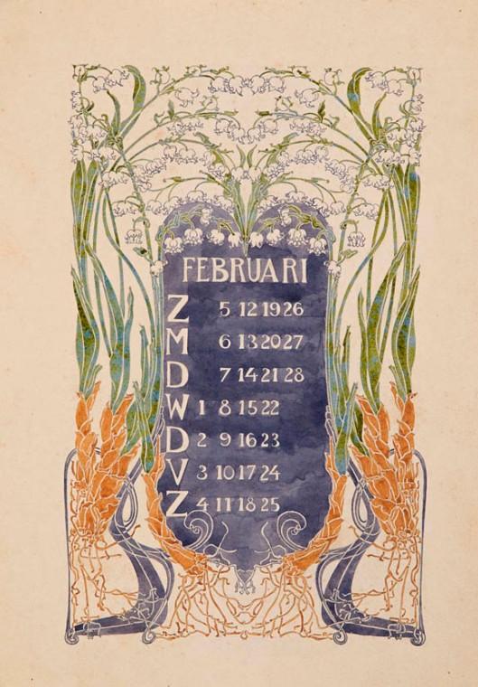 jugendstil aquarel-ontwerptekening omslagkalender Bloem en Blad februari 1905 Anna Sipkema