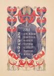 Aquarel-ontwerptekening omslagkalender Bloem en Blad juli 1905 door Anna Sipkema