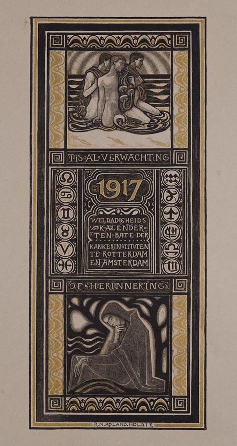 Weldadigheidskalender ten bate der Kankerinstituten te Rotterdam en Amsterdam 1917 ontwerp Richard Roland Holst