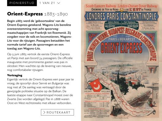 Schermafbeelding 'Pionierstijd' met rechts het eerste affiche van de Orient-Express (collectie Arjan den Boer)