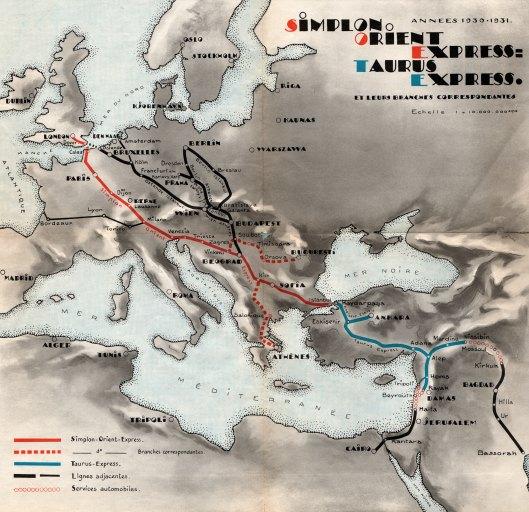 Routekaart Simplon Orient- en Taurus Express, 1930 (collectie Arjan den Boer)