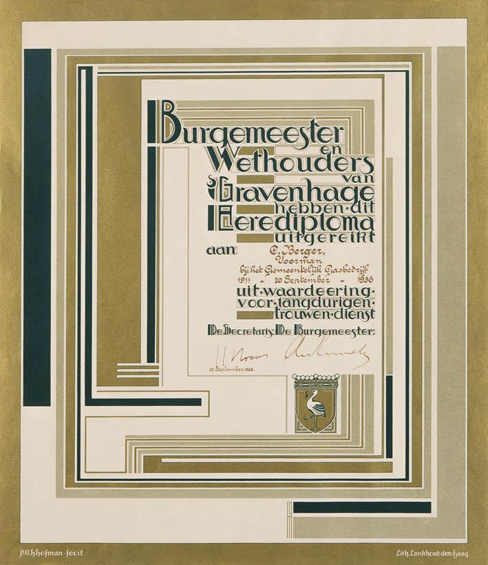 Eerediploma 's Gravenhage ontwerp Pieter Hofman stijl art deco
