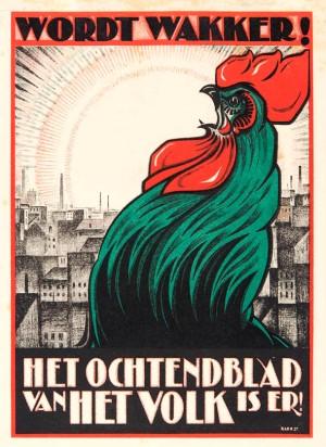 Reclamebiljet ochtendblad Het Volk ontwerp Albert Hahn jr. stijl Amsterdamse School art deco