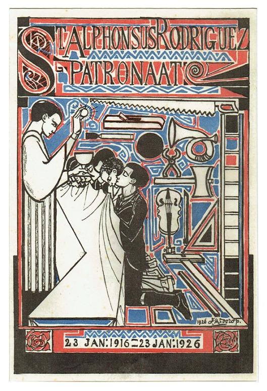 Litho St. Alphonsus Rodriguez Patronaat, ontwerp: Jan Toorop (1926)