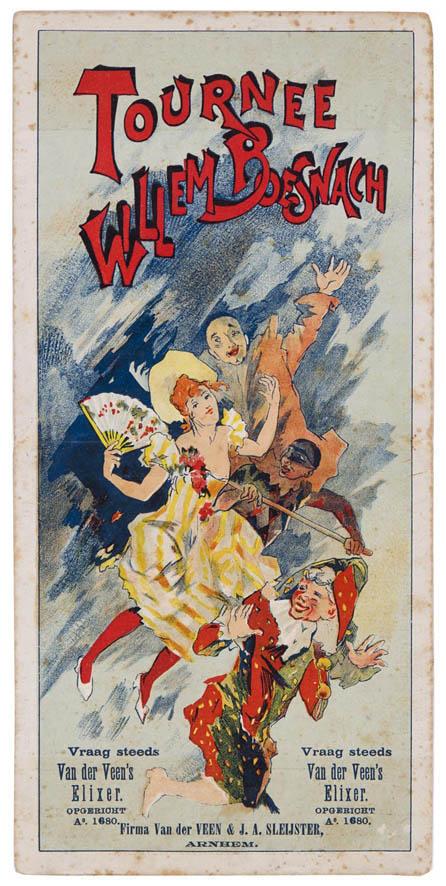 Programma Schouwburg Utrecht advertentie Tournee Willem Boesnach, ontwerp: Jules Chéret (1897)