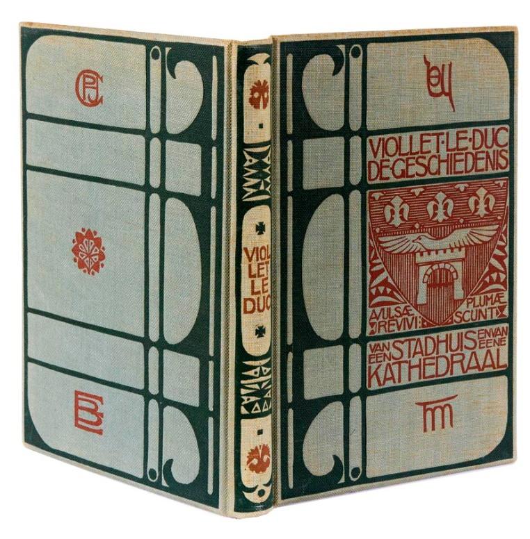 Nieuwe Kunst boekband De geschiedenis van een stadhuis en van eene kathedraal door Viollet Le Duc bandontwerp Theo Molkenboer 1897
