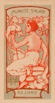 Jugendstil ex libris voor August Sauer