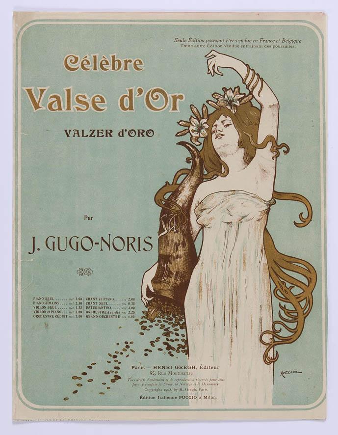 jugendstil art nouveau muziekblad Célèbre Valse d'Or, omslagontwerp: A. Wilden (1908)