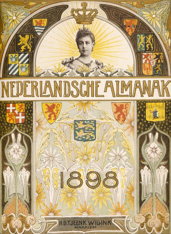 Nederlandsche Almanak voor 1898 art nouveau omslagontwerp toegeschreven aan Hendrik Nicolaas Postma