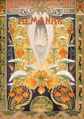 Nederlandsche Almanak voor 1901 art nouveau omslagontwerp toegeschreven aan Hendrik Nicolaas Postma (1900)