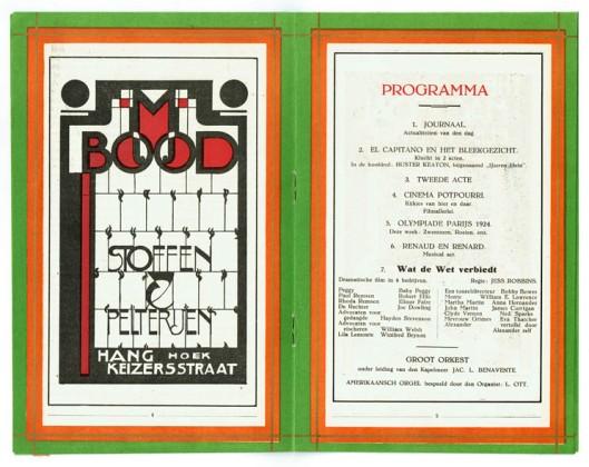 Binnenwerk met advertentie voor M. Bood Stoffen & Pelterijen