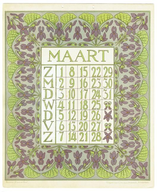 03_art_nouveau_kalenderblad_netty_vd_waarden_bloem_blad_kalender_maart_1903
