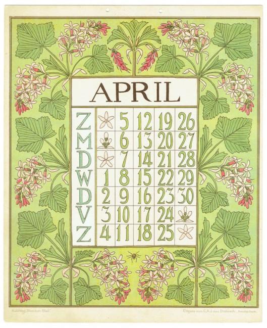 art_nouveau_kalenderblad_netty_vd_waarden_bloem_blad_kalender_april_1903