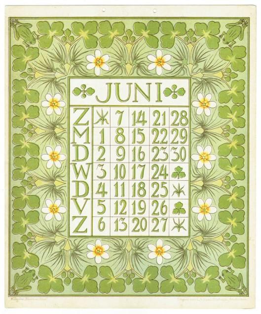 art_nouveau_kalenderblad_netty_vd_waarden_bloem_blad_kalender_juni_1903