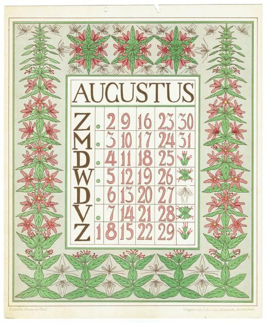 art_nouveau_kalenderblad_netty_vd_waarden_bloem_blad_kalender_augustus_1903