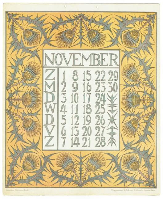 art_nouveau_kalenderblad_netty_vd_waarden_bloem_blad_kalender_november_1903