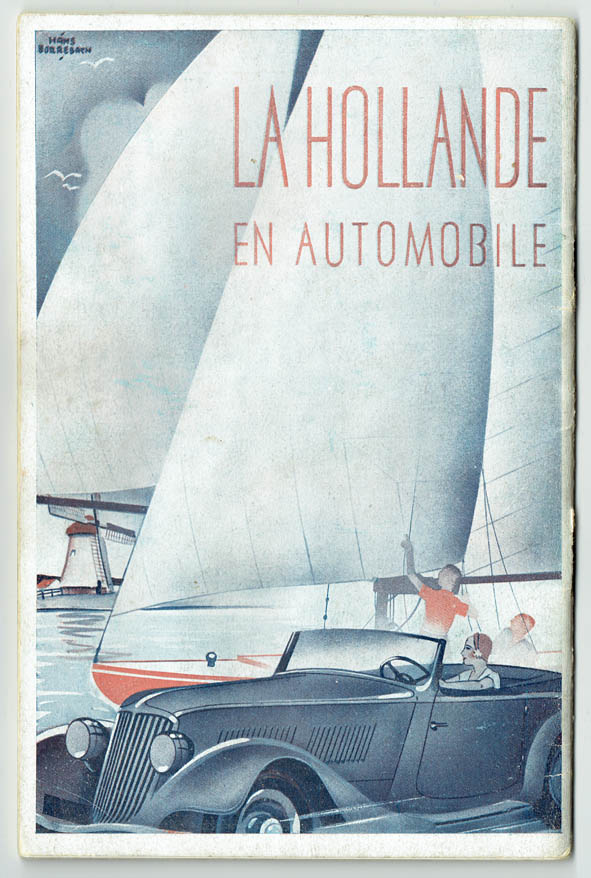 art deco auto brochure van ANWB, KNAC en ANVV circa 1939 ontwerper Hans Borrebach