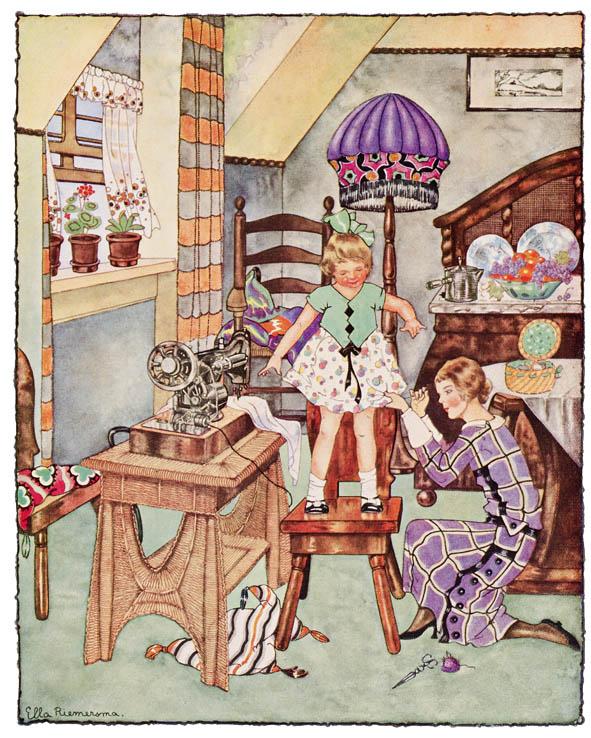 Ella Riemersma illustratie voor kalender Nederlandse elektriciteitsbedrijven kalenderblad juni 1925