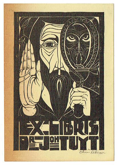 Ex libris voor Dr. Johan Tuyt, ontwerp: Chris Lebeau (1924)
