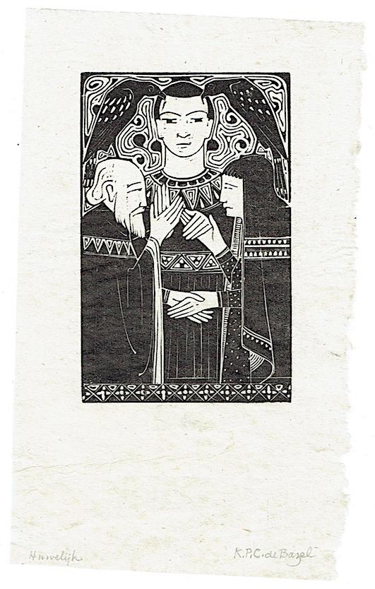 Illustratie 'Huwelijk' of 'Gezag', ontwerper houtsnede: Karel de Bazel (1895)
